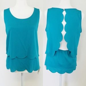 NWT Boutique Teal Scalloped Open Back Tank